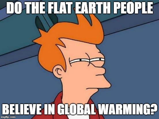 Futurama Fry Meme | DO THE FLAT EARTH PEOPLE BELIEVE IN GLOBAL WARMING? | image tagged in memes,futurama fry | made w/ Imgflip meme maker