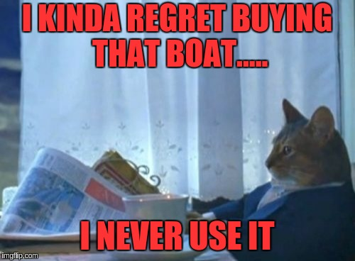 I Should Buy A Boat Cat Meme | I KINDA REGRET BUYING THAT BOAT..... I NEVER USE IT | image tagged in memes,i should buy a boat cat | made w/ Imgflip meme maker