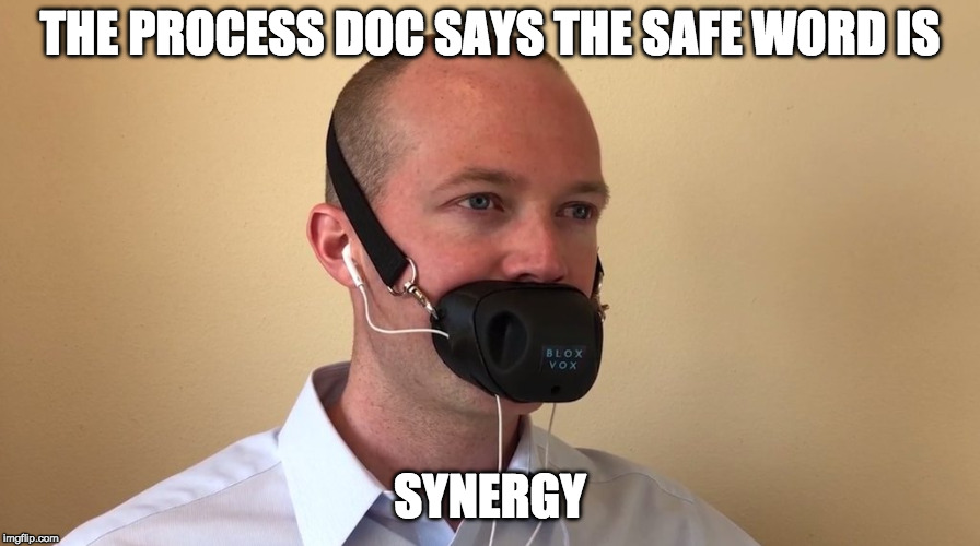THE PROCESS DOC SAYS THE SAFE WORD IS SYNERGY | image tagged in corporate kink | made w/ Imgflip meme maker