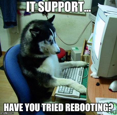 I Have No Idea What I Am Doing Meme | IT SUPPORT... HAVE YOU TRIED REBOOTING? | image tagged in memes,i have no idea what i am doing | made w/ Imgflip meme maker