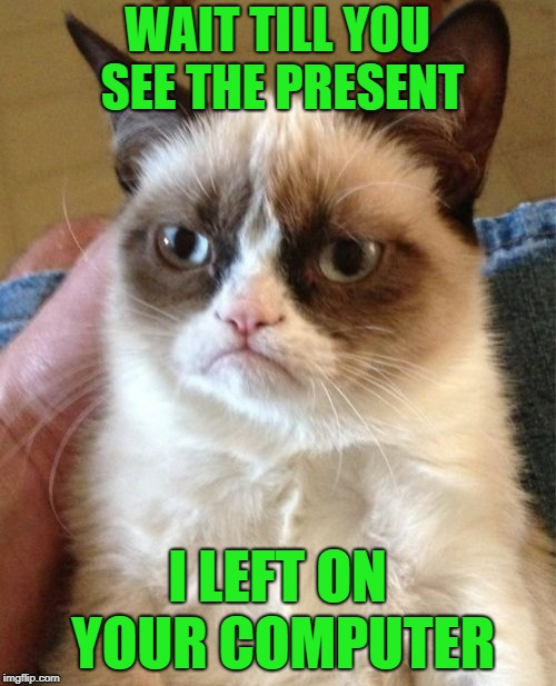 Grumpy Cat Meme | WAIT TILL YOU SEE THE PRESENT I LEFT ON YOUR COMPUTER | image tagged in memes,grumpy cat | made w/ Imgflip meme maker