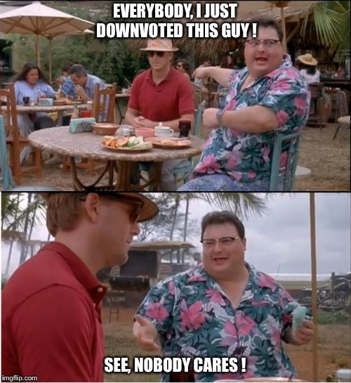 I Downvoted | EVERYBODY, I JUST DOWNVOTED THIS GUY ! SEE, NOBODY CARES ! | image tagged in memes,see nobody cares | made w/ Imgflip meme maker