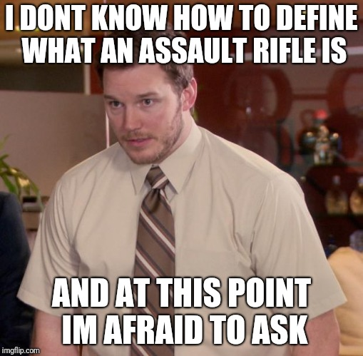 assault rifle andy | I DONT KNOW HOW TO DEFINE WHAT AN ASSAULT RIFLE IS AND AT THIS POINT IM AFRAID TO ASK | image tagged in memes,afraid to ask andy | made w/ Imgflip meme maker