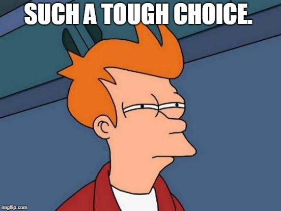 Futurama Fry Meme | SUCH A TOUGH CHOICE. | image tagged in memes,futurama fry | made w/ Imgflip meme maker