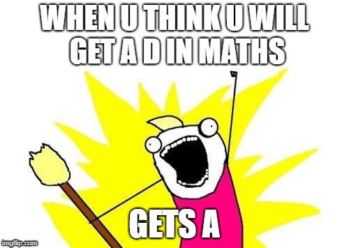 X All The Y Meme | WHEN U THINK U WILL GET A D IN MATHS GETS A | image tagged in memes,x all the y | made w/ Imgflip meme maker