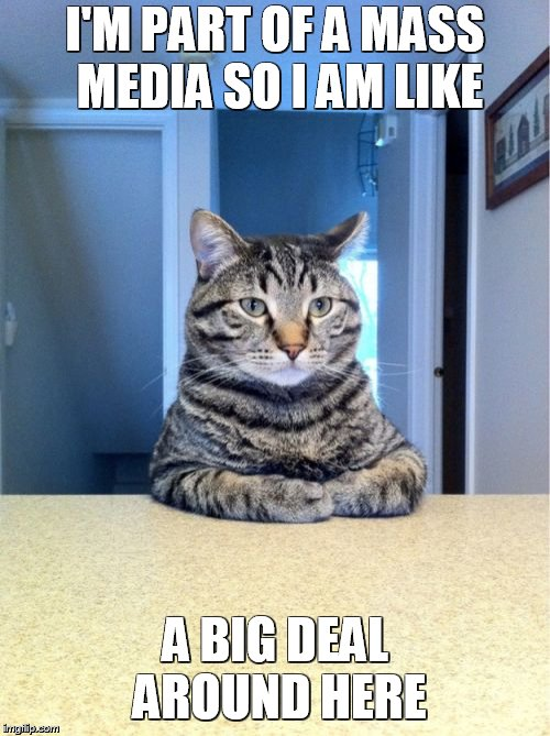 Take A Seat Cat Meme | I'M PART OF A MASS MEDIA SO I AM LIKE A BIG DEAL AROUND HERE | image tagged in memes,take a seat cat | made w/ Imgflip meme maker
