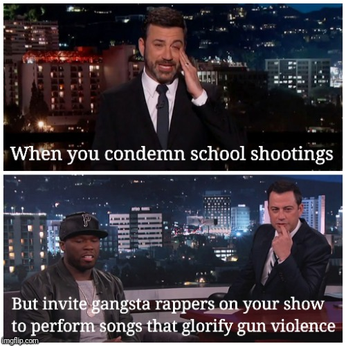 Condemn or Condone  | . | image tagged in gun violence,school shootings,jimmy kimmel | made w/ Imgflip meme maker