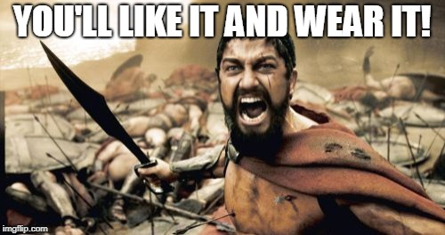 Sparta Leonidas Meme | YOU'LL LIKE IT AND WEAR IT! | image tagged in memes,sparta leonidas | made w/ Imgflip meme maker