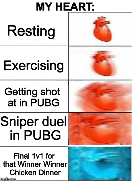 Won a game in PUBG. Heart is STILL pounding! | Resting Exercising Getting shot at in PUBG Sniper duel in PUBG Final 1v1 for that Winner Winner Chicken Dinner MY HEART: | image tagged in my heart free sample,pubg,my heart,sniper,memes,winner | made w/ Imgflip meme maker