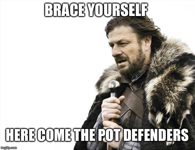 Brace Yourselves X is Coming Meme | BRACE YOURSELF HERE COME THE POT DEFENDERS | image tagged in memes,brace yourselves x is coming | made w/ Imgflip meme maker