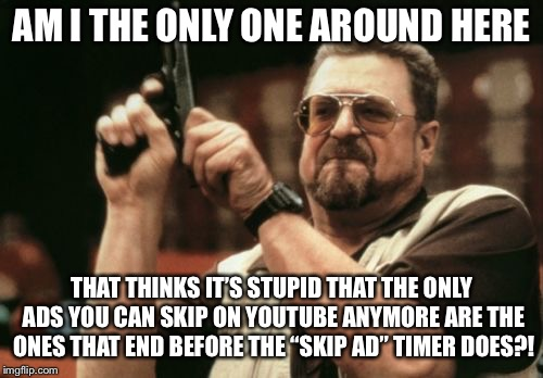 "Am I The Only One Around Here Meme | AM I THE ONLY ONE AROUND HERE THAT THINKS IT'S STUPID THAT THE ONLY ADS YOU CAN SKIP ON YOUTUBE ANYMORE ARE THE ONES THAT END BEFORE THE ""SK 