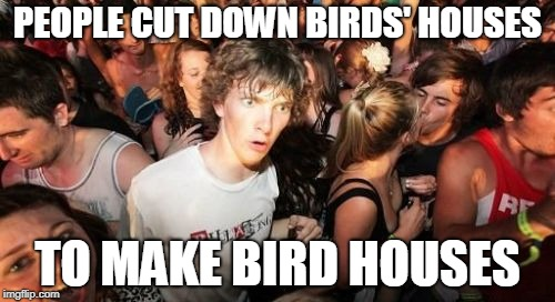 Sudden Clarity Clarence | PEOPLE CUT DOWN BIRDS' HOUSES TO MAKE BIRD HOUSES | image tagged in memes,sudden clarity clarence | made w/ Imgflip meme maker
