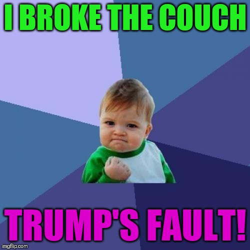 Success Kid Meme | I BROKE THE COUCH TRUMP'S FAULT! | image tagged in memes,success kid | made w/ Imgflip meme maker