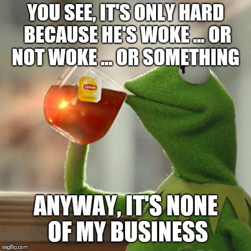But Thats None Of My Business Meme | YOU SEE, IT'S ONLY HARD BECAUSE HE'S WOKE ... OR NOT WOKE ... OR SOMETHING ANYWAY, IT'S NONE OF MY BUSINESS | image tagged in memes,but thats none of my business,kermit the frog | made w/ Imgflip meme maker