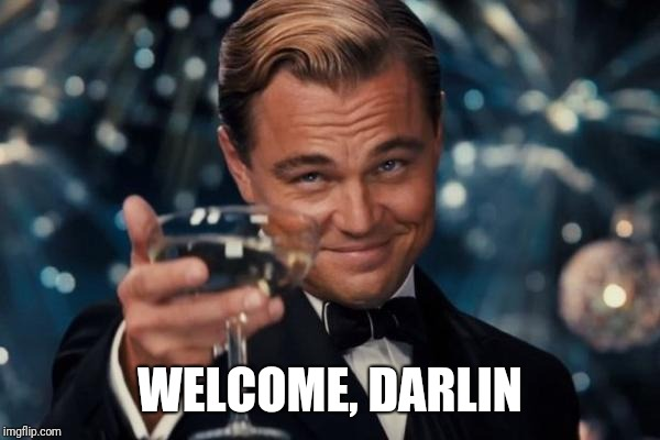 Leonardo Dicaprio Cheers Meme | WELCOME, DARLIN | image tagged in memes,leonardo dicaprio cheers | made w/ Imgflip meme maker