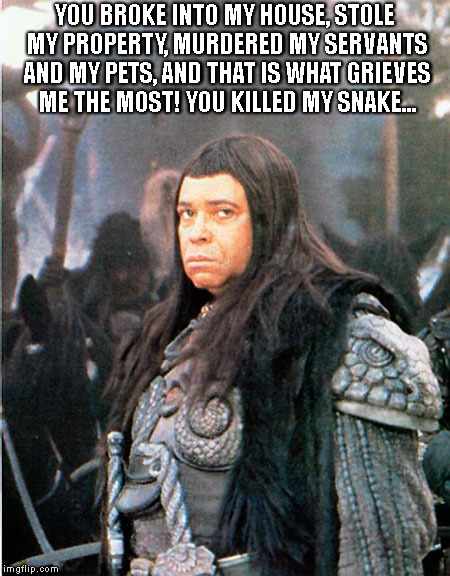 Thulsa Doom is not amused | YOU BROKE INTO MY HOUSE, STOLE MY PROPERTY, MURDERED MY SERVANTS AND MY PETS, AND THAT IS WHAT GRIEVES ME THE MOST! YOU KILLED MY SNAKE... | image tagged in thulsa doom,conan,conan the barbarian | made w/ Imgflip meme maker