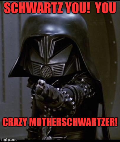 Dark helmet | SCHWARTZ YOU!  YOU CRAZY MOTHERSCHWARTZER! | image tagged in dark helmet | made w/ Imgflip meme maker