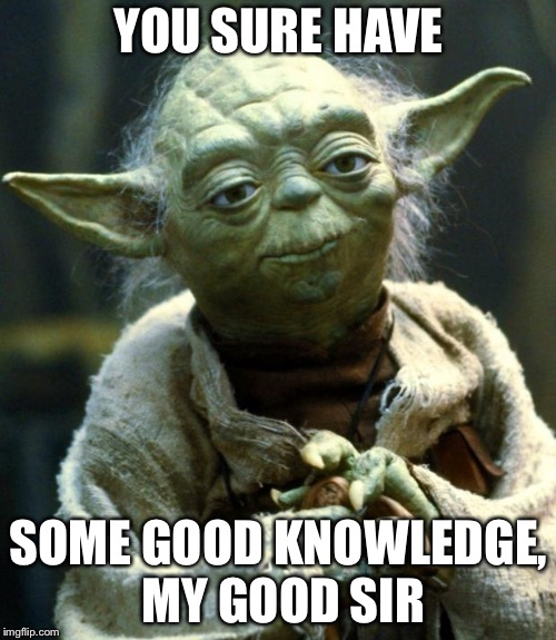 Star Wars Yoda Meme | YOU SURE HAVE SOME GOOD KNOWLEDGE, MY GOOD SIR | image tagged in memes,star wars yoda | made w/ Imgflip meme maker