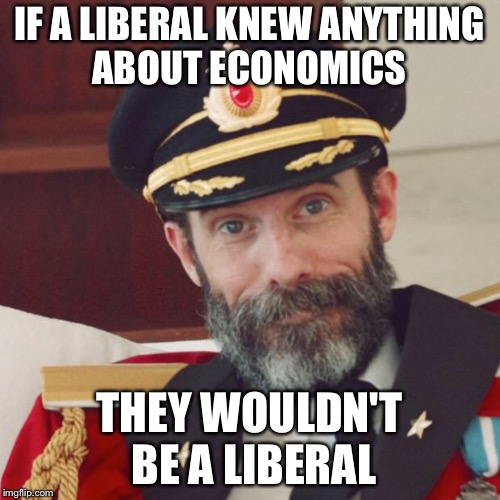 Captain Obvious | IF A LIBERAL KNEW ANYTHING ABOUT ECONOMICS THEY WOULDN'T BE A LIBERAL | image tagged in captain obvious | made w/ Imgflip meme maker