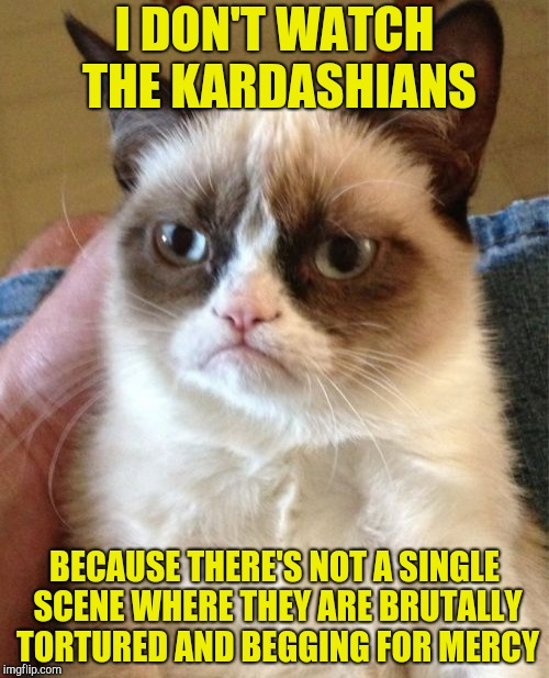 Grumpy Can on the kardashians | I DON'T WATCH THE KARDASHIANS BECAUSE THERE'S NOT A SINGLE SCENE WHERE THEY ARE BRUTALLY TORTURED AND BEGGING FOR MERCY | image tagged in memes,grumpy cat,kardashians,powermetalhead,torture,funny | made w/ Imgflip meme maker