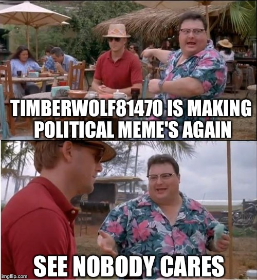 See Nobody Cares Meme | TIMBERWOLF81470 IS MAKING POLITICAL MEME'S AGAIN SEE NOBODY CARES | image tagged in memes,see nobody cares | made w/ Imgflip meme maker