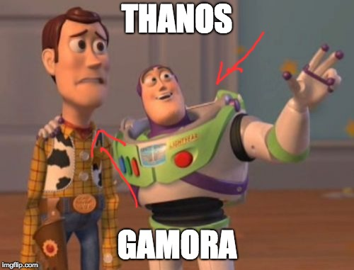 X, X Everywhere Meme | THANOS GAMORA | image tagged in memes,x,x everywhere,x x everywhere | made w/ Imgflip meme maker
