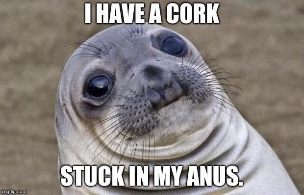 Awkward Moment Sealion Meme | I HAVE A CORK STUCK IN MY ANUS. | image tagged in memes,awkward moment sealion | made w/ Imgflip meme maker