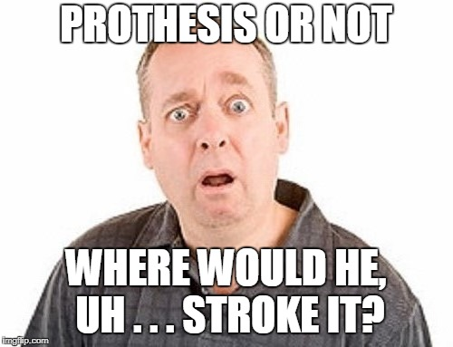 PROTHESIS OR NOT WHERE WOULD HE, UH . . . STROKE IT? | made w/ Imgflip meme maker
