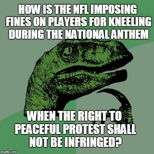 Philosoraptor Meme | HOW IS THE NFL IMPOSING FINES ON PLAYERS FOR KNEELING DURING THE NATIONAL ANTHEM WHEN THE RIGHT TO PEACEFUL PROTEST SHALL NOT BE INFRINGED? | image tagged in memes,philosoraptor | made w/ Imgflip meme maker