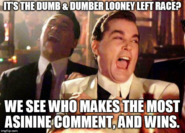 Wise guys laughing | IT'S THE DUMB & DUMBER LOONEY LEFT RACE? WE SEE WHO MAKES THE MOST ASININE COMMENT, AND WINS. | image tagged in wise guys laughing | made w/ Imgflip meme maker