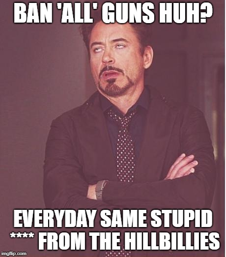 Face You Make Robert Downey Jr Meme | BAN 'ALL' GUNS HUH? EVERYDAY SAME STUPID **** FROM THE HILLBILLIES | image tagged in memes,face you make robert downey jr | made w/ Imgflip meme maker