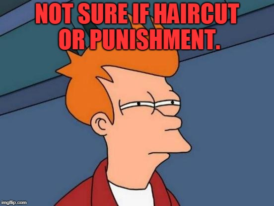 Futurama Fry Meme | NOT SURE IF HAIRCUT OR PUNISHMENT. | image tagged in memes,futurama fry | made w/ Imgflip meme maker