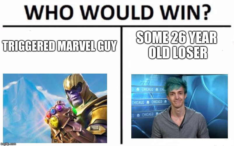 Who Would Win? Meme | TRIGGERED MARVEL GUY SOME 26 YEAR OLD LOSER | image tagged in memes,who would win | made w/ Imgflip meme maker