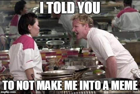 Angry Chef Gordon Ramsay Meme | I TOLD YOU TO NOT MAKE ME INTO A MEME | image tagged in memes,angry chef gordon ramsay | made w/ Imgflip meme maker