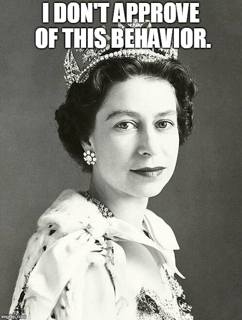 I DON'T APPROVE OF THIS BEHAVIOR. | image tagged in queen of england | made w/ Imgflip meme maker
