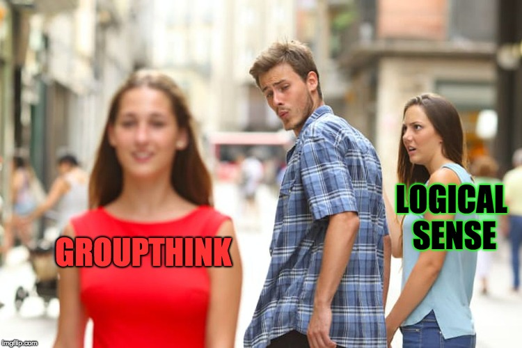 When Group (or Committee, etc.) Members go Batshit | GROUPTHINK LOGICAL SENSE | image tagged in memes,distracted boyfriend,groupthink,logics,group,committee | made w/ Imgflip meme maker