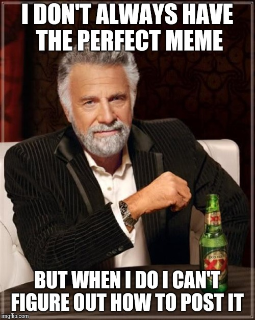 The Most Interesting Man In The World Meme | I DON'T ALWAYS HAVE THE PERFECT MEME BUT WHEN I DO I CAN'T FIGURE OUT HOW TO POST IT | image tagged in memes,the most interesting man in the world | made w/ Imgflip meme maker
