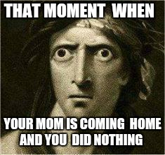 that moment when | THAT MOMENT  WHEN YOUR MOM IS COMING  HOME AND YOU  DID NOTHING | image tagged in that moment when | made w/ Imgflip meme maker
