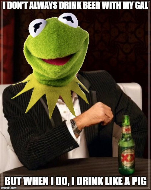 It's Not Easy Being the Most Interesting Frog In the World | I DON'T ALWAYS DRINK BEER WITH MY GAL BUT WHEN I DO, I DRINK LIKE A PIG | image tagged in memes | made w/ Imgflip meme maker