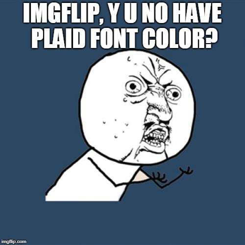 Y U No Meme | IMGFLIP, Y U NO HAVE PLAID FONT COLOR? | image tagged in memes,y u no | made w/ Imgflip meme maker