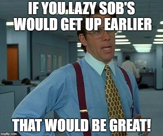 That Would Be Great Meme | IF YOU LAZY SOB'S WOULD GET UP EARLIER THAT WOULD BE GREAT! | image tagged in memes,that would be great | made w/ Imgflip meme maker