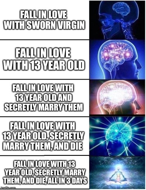 Romeo is working fast | FALL IN LOVE WITH SWORN VIRGIN FALL IN LOVE WITH 13 YEAR OLD, SECRETLY MARRY THEM, AND DIE, ALL IN 3 DAYS FALL IN LOVE WITH 13 YEAR OLD FALL | image tagged in expanding brain 5 panel | made w/ Imgflip meme maker