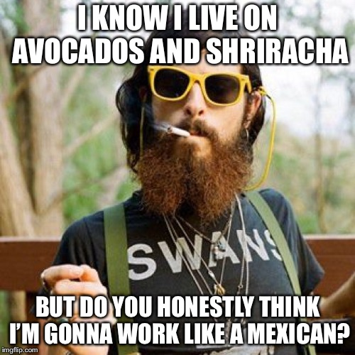 I KNOW I LIVE ON AVOCADOS AND SHRIRACHA BUT DO YOU HONESTLY THINK I'M GONNA WORK LIKE A MEXICAN? | made w/ Imgflip meme maker