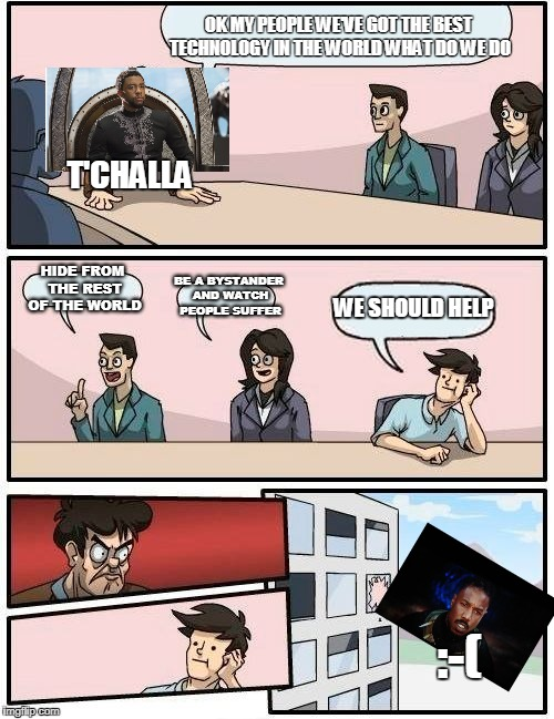 Boardroom Meeting Suggestion Meme | OK MY PEOPLE WE'VE GOT THE BEST TECHNOLOGY IN THE WORLD WHAT DO WE DO HIDE FROM THE REST OF THE WORLD BE A BYSTANDER AND WATCH PEOPLE SUFFER | image tagged in memes,boardroom meeting suggestion | made w/ Imgflip meme maker