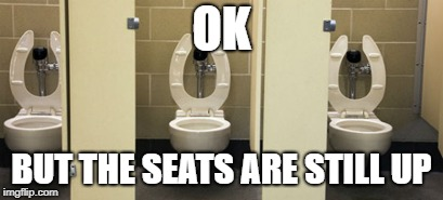 bathroom | OK BUT THE SEATS ARE STILL UP | image tagged in bathroom | made w/ Imgflip meme maker