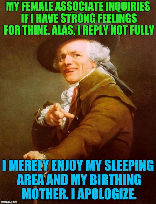 Joseph Ducreux Meme | MY FEMALE ASSOCIATE INQUIRIES IF I HAVE STRONG FEELINGS FOR THINE. ALAS, I REPLY NOT FULLY I MERELY ENJOY MY SLEEPING AREA AND MY BIRTHING M | image tagged in memes,joseph ducreux,god's plan | made w/ Imgflip meme maker