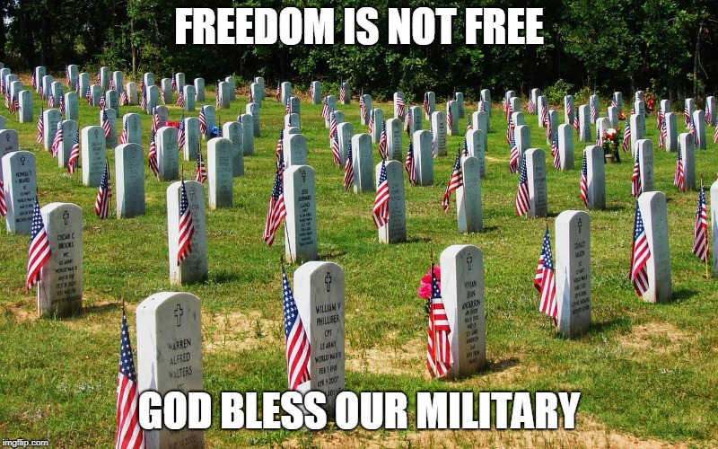 Memorial Day | FREEDOM IS NOT FREE GOD BLESS OUR MILITARY | image tagged in memorial | made w/ Imgflip meme maker