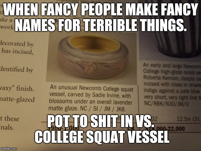 Way too fancy.  | WHEN FANCY PEOPLE MAKE FANCY NAMES FOR TERRIBLE THINGS. POT TO SHIT IN VS. COLLEGE SQUAT VESSEL | image tagged in memes,funny | made w/ Imgflip meme maker