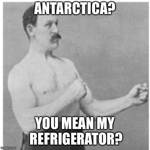 Antarctica  | ANTARCTICA? YOU MEAN MY REFRIGERATOR? | image tagged in memes,overly manly man,antarctica,iceberg,refrigerator | made w/ Imgflip meme maker