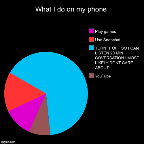 What I do on my phone | YouTube, TURN IT OFF SO I CAN LISTEN 20 MIN COVERSATION I MOST LIKELY DONT CARE ABOUT , Use Snapchat , Play games | image tagged in funny,pie charts | made w/ Imgflip pie chart maker